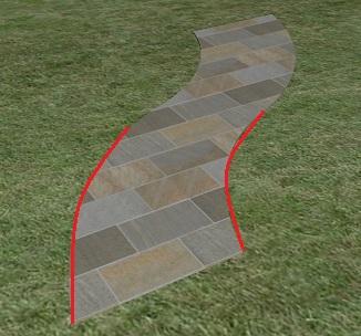 自然石方形貼りのアプローチ