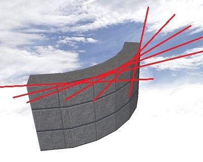 ブロックを曲線状に積むと